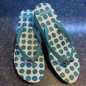 Coach Aqua Blue Wedge Flip Flop Sandal LORALYN 8